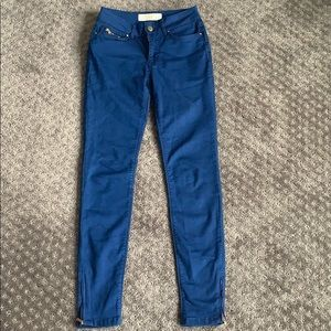 Zara blue jeans with gold ankle zips